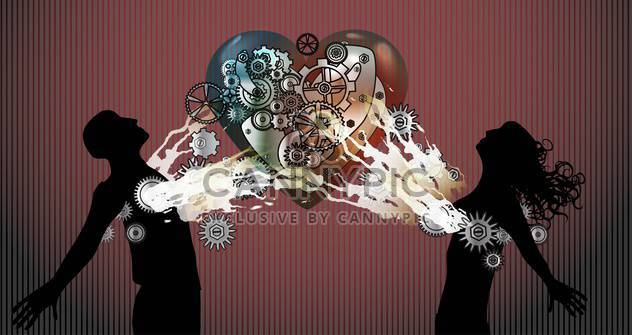 Vector background with couple in love with heart made of gears - Free vector #127050