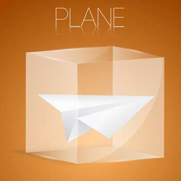 vector illustration of paper airplane in glass box - vector #127060 gratis