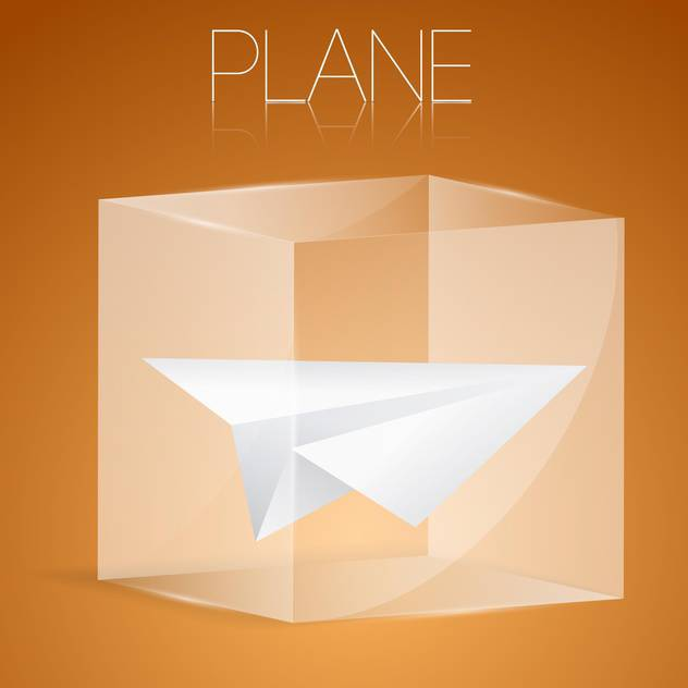 vector illustration of paper airplane in glass box - Free vector #127060