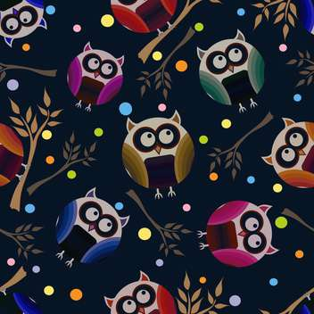 vector illustration of dark blue background with owls - vector gratuit #127070