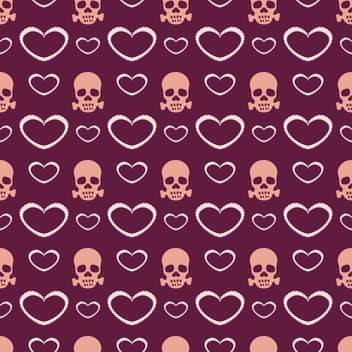 Vector purple background with hearts and skulls - vector gratuit #127110