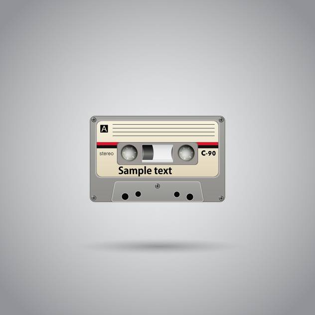 Old-school cassette tape record with text place on grey background - Free vector #127130