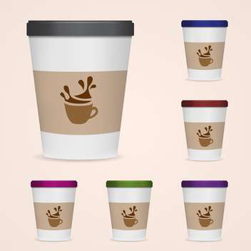 Vector illustration of paper coffee cups on pink background - vector gratuit #127140