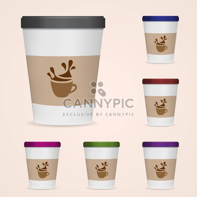 Vector illustration of paper coffee cups on pink background - vector #127140 gratis