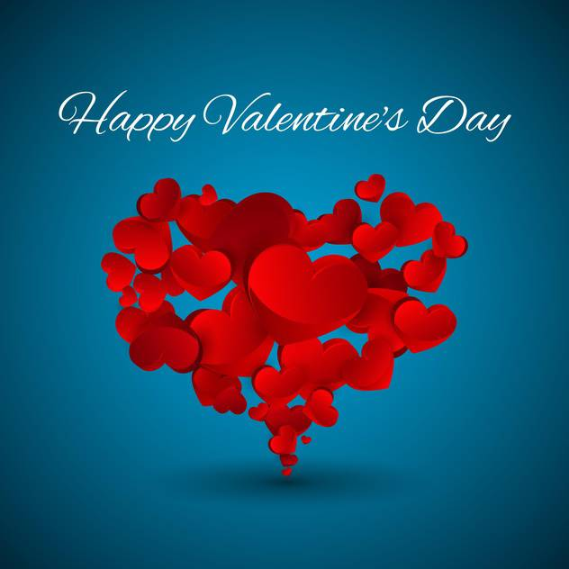 Vector Valentine blue background with red hearts - бесплатный vector #127150