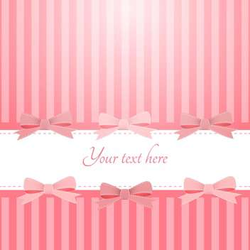 Vector pink background with bows and text place - vector gratuit #127230