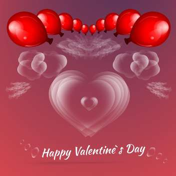 Valentine's background with red balloons for valentine card - vector gratuit #127290