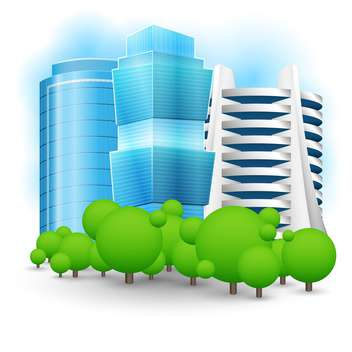 Vector illustration of green landscape with skyscraper - Free vector #127390