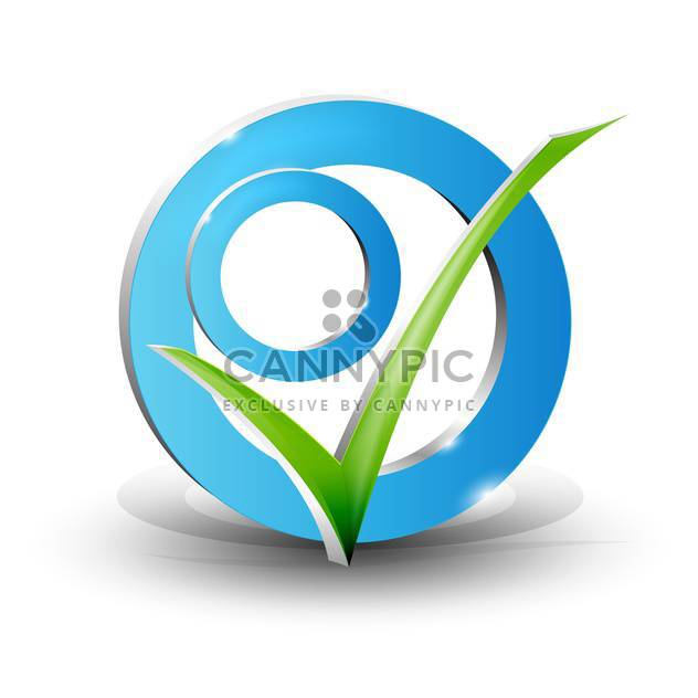 Vector illustration of check mark on white background - Free vector #127400