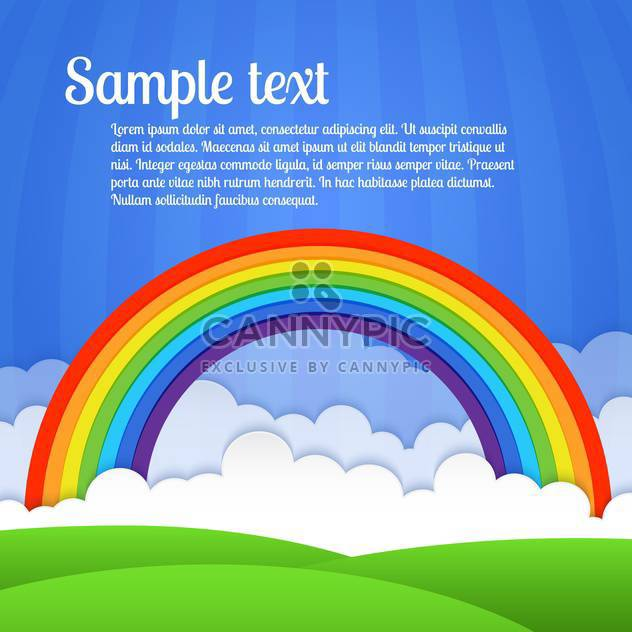 Vector colorful rainbow with clouds and green grass on blue background - Free vector #127440