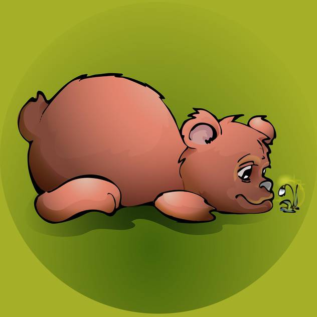 Brown teddy bear with flower on green background - vector #127470 gratis