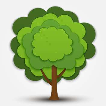 Nature vector green tree banner on grey background - vector gratuit #127490