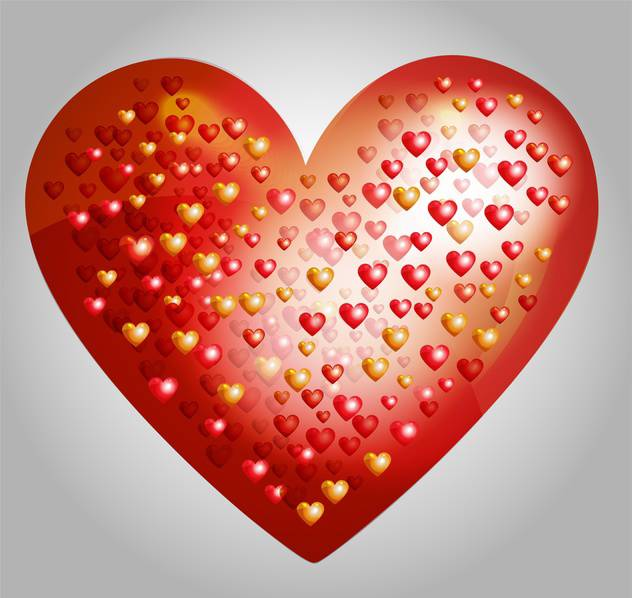Vector big heart made from smaller hearts on grey background - бесплатный vector #127510