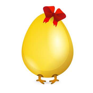 Little chicken in yellow egg with red bow on beige background - vector gratuit #127590