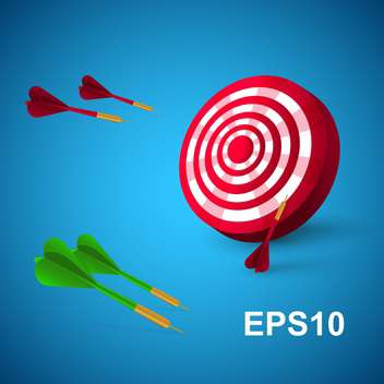 colorful darts with target on blue background - vector gratuit #127600