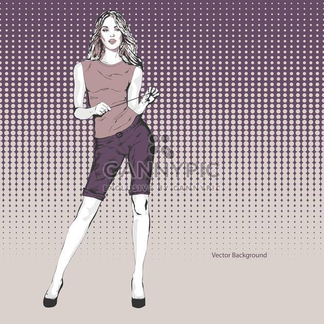 Vector purple background with beautiful woman - Free vector #127660