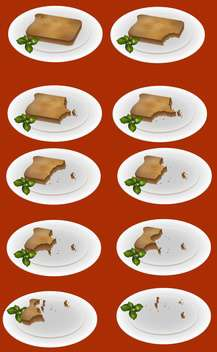 vector illustration of eating up toast on plate on red background - бесплатный vector #127670
