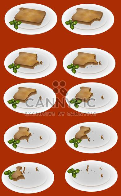 vector illustration of eating up toast on plate on red background - Free vector #127670