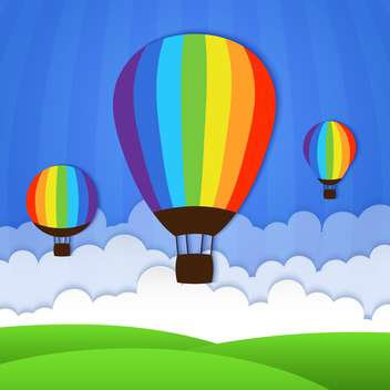 Vector illustration of hot air balloons in sky - Free vector #127690