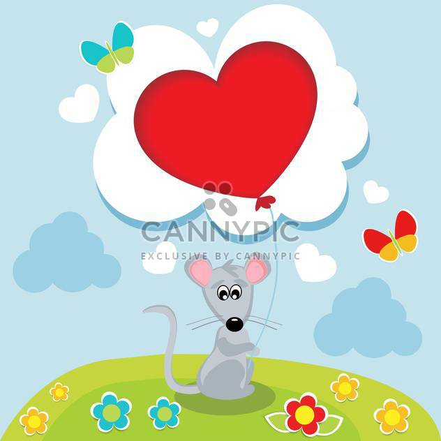 Mouse with heart shaped balloon in hands - Free vector #127710