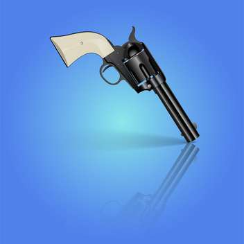 vector illustration of black revolver on blue background - vector gratuit #127720