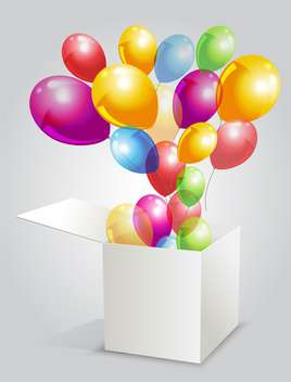 vector illustration of happy birthday with balloons from box - бесплатный vector #127800