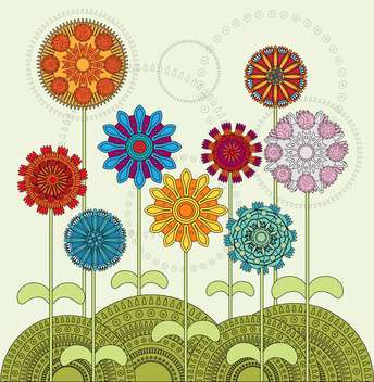 vector illustration of ethnic colorful flowers - vector gratuit #127810