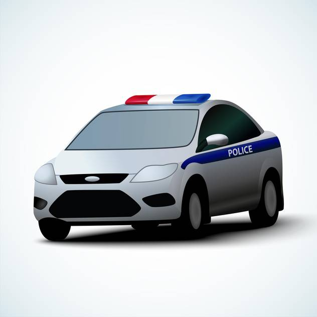 Vector illustration of police car on white background - Free vector #127830