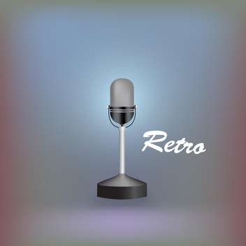 vector illustration of retro microphone on colorful background - vector gratuit #127840
