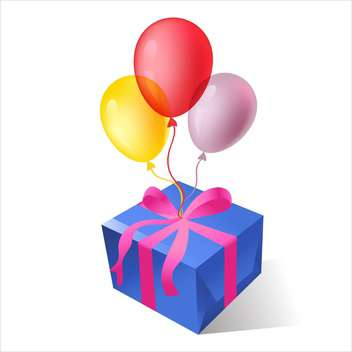 vector illustration of gift boxes with colorful balloons - Free vector #127850