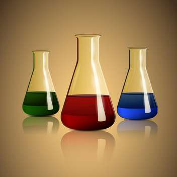 vector illustration of chemical flasks on beige background - vector gratuit #127900
