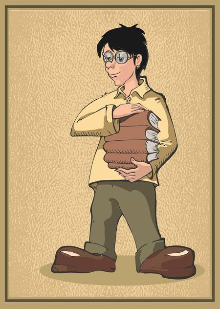 vector illustration of student standing with books pile on brown background - бесплатный vector #127950