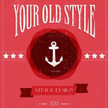 Card with vintage anchor and stars on red background - Free vector #127980