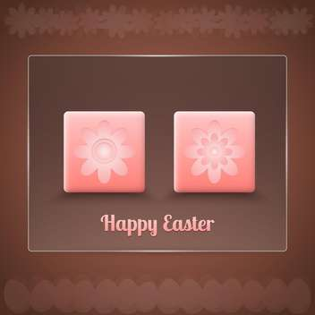 easter card with flowers in pink buttons on brown background - vector gratuit #127990