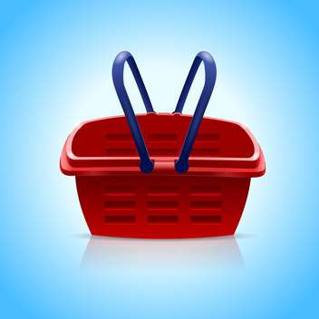 Red shopping basket on blue background - vector gratuit #128000