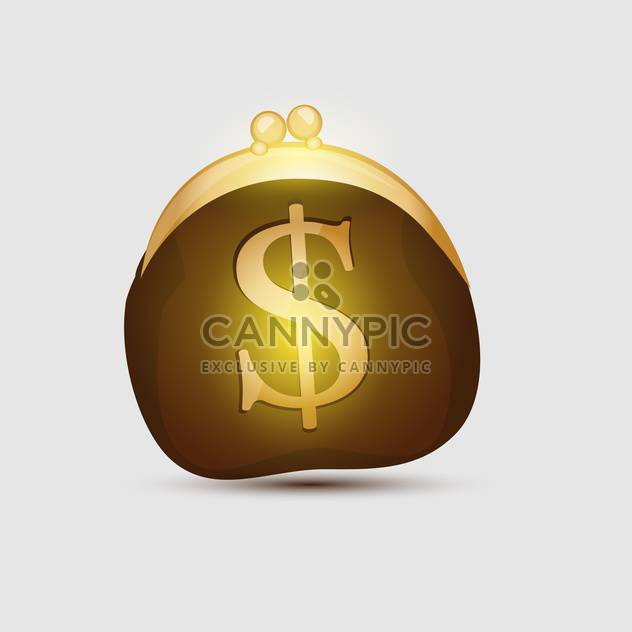 Wallet with golden dollar symbol on white background - Free vector #128020