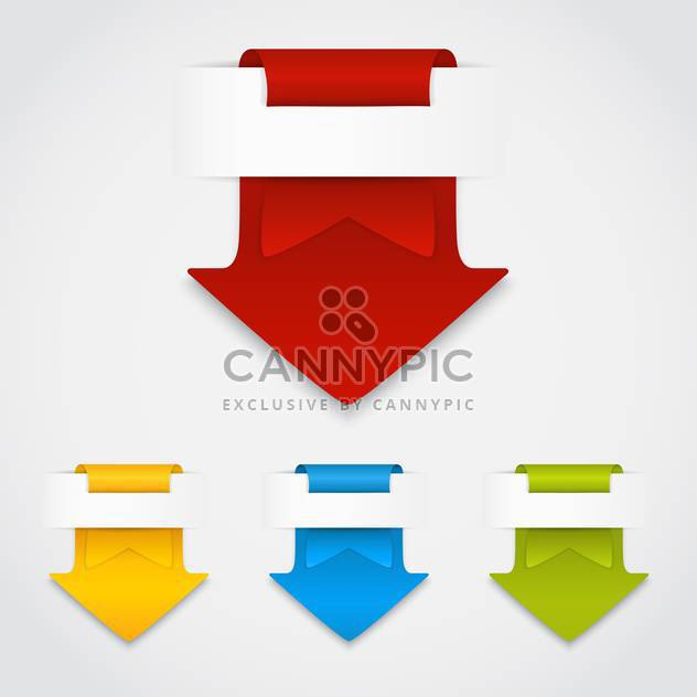 vector set of colorful arrows in form of paper stickers on white background - Free vector #128050