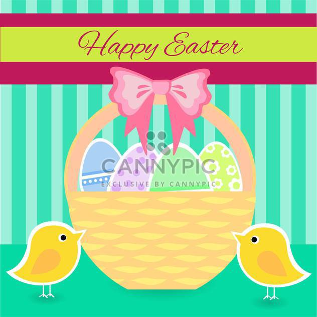 colorful illustration of basket full of colorful decorated easter eggs - Free vector #128080