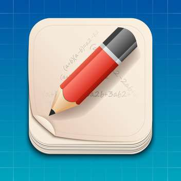 Vector icon of pencil on paper - vector gratuit #128180