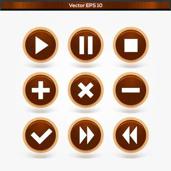 Set with round wooden media player vector buttons - vector gratuit #128350