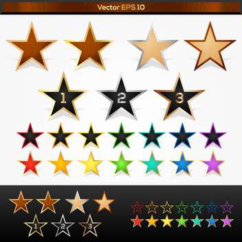 Vector set of colorful stars - Free vector #128440