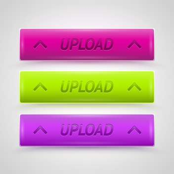 Colorful Glossy Upload Vector Buttons - бесплатный vector #128610