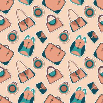 Vector fashion bags seamless pattern with cartoon woman's bag - vector #128660 gratis