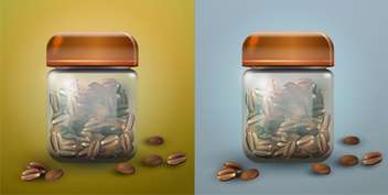 Isolated vector illustration of two glass coffee jar. - Free vector #128720