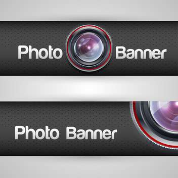 Vector illustration of photo banner with lens - бесплатный vector #128730