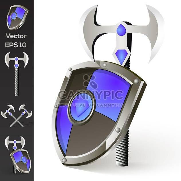 Vector illustration of axe and shield collection - Free vector #128770