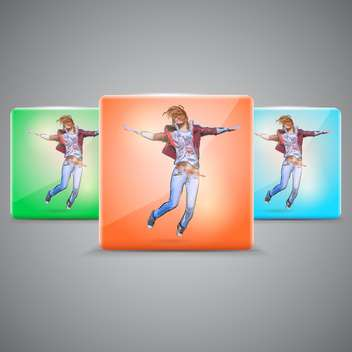Vector set with happy jumping girl - vector gratuit #128810
