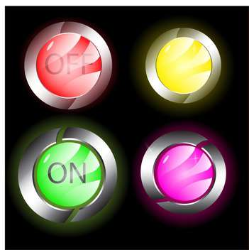 Vector set of colorful on and offbuttons - vector gratuit #128820