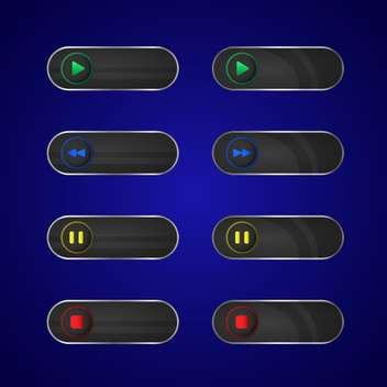 Vector set of media player buttons - vector gratuit #128830