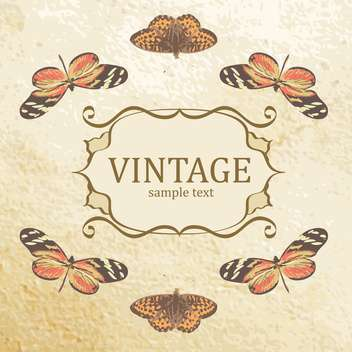 Vintage vector background with butterflies and sample text - vector gratuit #128850